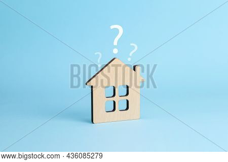 House And Question Mark. House Selection Concept. Blue Background