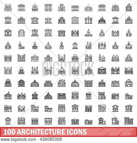100 Architecture Icons Set. Outline Illustration Of 100 Architecture Icons Vector Set Isolated On Wh