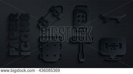 Set Skateboard T Tool, Knee Pads, Wheel, And Icon. Vector