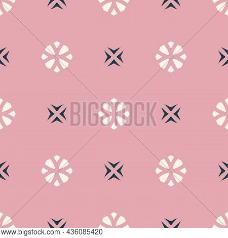 Vector Geometric Floral Ornament. Simple Minimalist Seamless Pattern. Ornamental Texture With Small