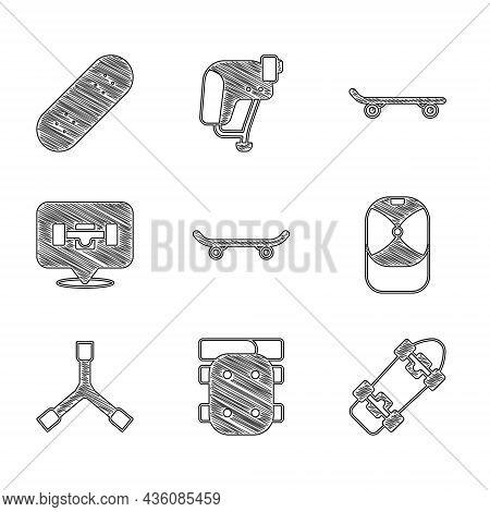 Set Skateboard, Knee Pads, Baseball Cap, Y-tool, Wheel, And Icon. Vector