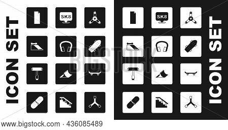 Set Skateboard Y-tool, Headphones, Park, Grip Tape Skateboard, And T Icon. Vector