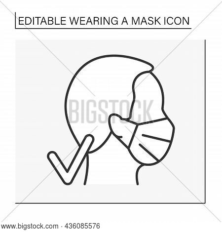 Face Mask Line Icon. Regulations Of Mask Wearing. Cover Face. Covid19. Healthcare Concept. Isolated
