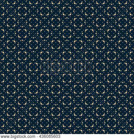 Golden Vector Seamless Pattern In Oriental Style. Subtle Gold And Black Minimalist Geometric Ornamen