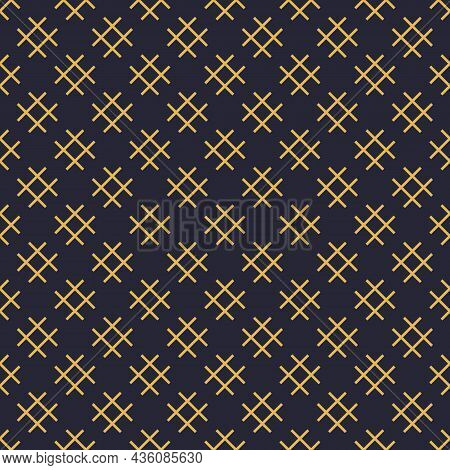Linear Geometric Pattern With Grid, Squares, Hashtag, Lattice, Grid, Mesh. Black And Yellow Seamless