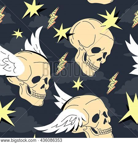 Human Skull With Wings Seamless Pattern Over Dark Blue Background. Anatomical Surreal Repeatable Des