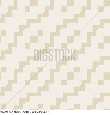 Seamless Geometric Ethnic Pattern. Illustration With Diagonal Zigzag Shapes, Rhombus. Ornament Vecto