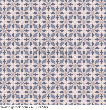Modern Floral Geometric Abstract Pattern. Seamless Soft Blue, Lilac Background. Trendy Geo Leaf Orna