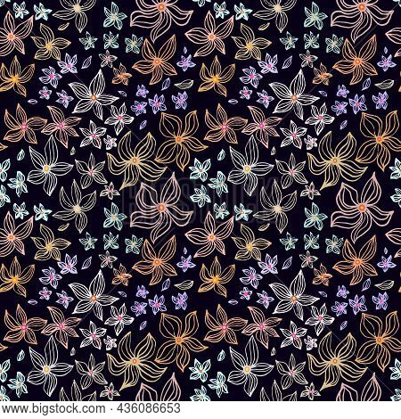 Abstract Flowers Vector Seamless Pattern With Drawing Yellow, Gold, Silver, Purple. Floral Watercolo