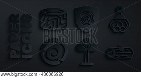 Set Tree, Grapple Crane Grabbed A Log, Wooden Logs, And Stump Icon. Vector