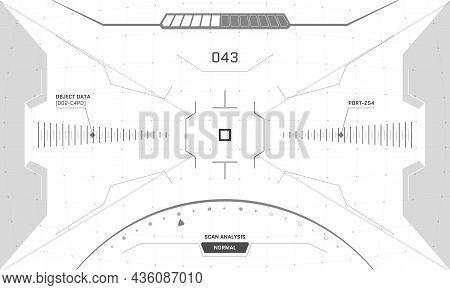 Vr Hud Game Interface Crosshair Screen. Futuristic Sci-fi Virtual Reality View Head Up Display Visor