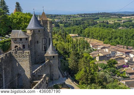 The Ancient Fortress Of Carcassonne, France. Europe Castle. View From The Cite. High Quality Photo