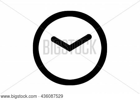Clock Icon, 10 Hours, 10 Minutes On A White Background.