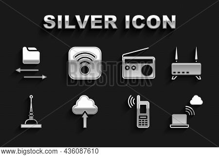 Set Cloud Upload, Router And Wi-fi Signal, Network Cloud Connection, Mobile With Wireless, Antenna,