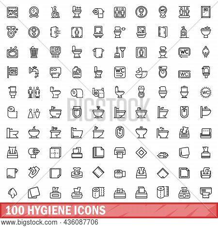 100 Hygiene Icons Set. Outline Illustration Of 100 Hygiene Icons Vector Set Isolated On White Backgr