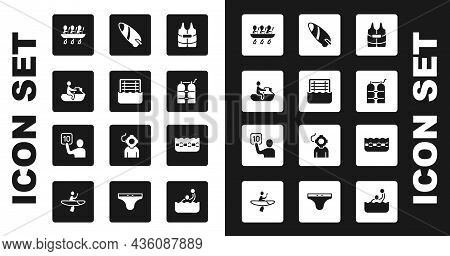 Set Life Jacket, Water Polo, Jet Ski, Canoe Rowing Team Sports, Aqualung, Surfboard, Swimming Pool A