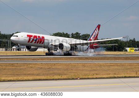 Frankfurt, Germany - July 7, 2017: Latam Tam Airlines Passenger Plane At Airport. Schedule Flight Tr