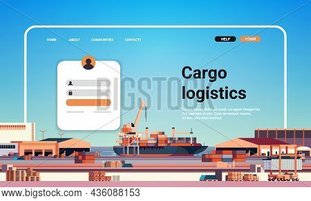 Container Ship Loading In Sea Port Website Landing Page Template Cargo Logistics Freight Transportat