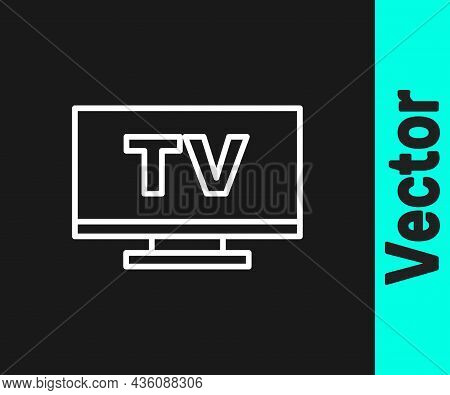 White Line Smart Tv Icon Isolated On Black Background. Television Sign. Vector