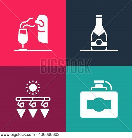 Set Pop Art Cardboard Box Of Wine, Drying Grapes, Champagne Bottle And Sommelier Icon. Vector
