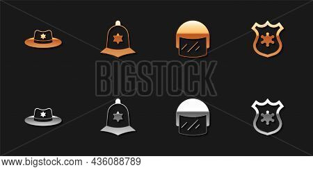 Set Sheriff Hat With Badge, British Police Helmet, Police And Icon. Vector