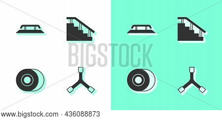 Set Skateboard Y-tool, Stairs With Rail, Wheel And Icon. Vector