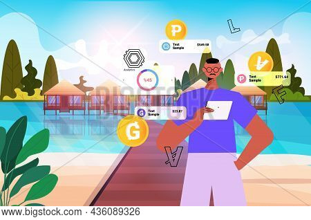 Businessman Using Cryptocurrency Mining Application On Tablet Pc Virtual Money Transfer App Banking