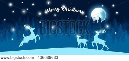Christmas Snow Forest Winter Background, Vector Blue Night Tree Silhouette Landscape, Moon, Reindeer