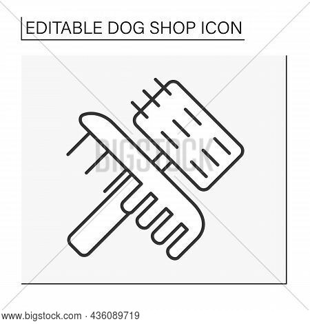 Care Line Icon. Grooming Tools. Brush For Combing Wool. Dog Store.shop Concept. Isolated Vector Illu