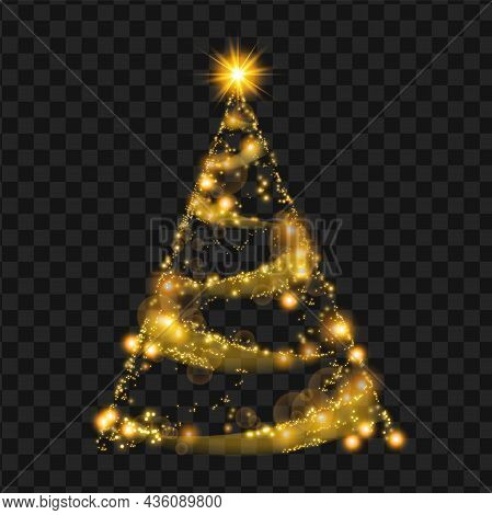 Gold Christmas Tree, Vector Sparkle Star Decoration Abstract Holiday Pine On Transparent Background.