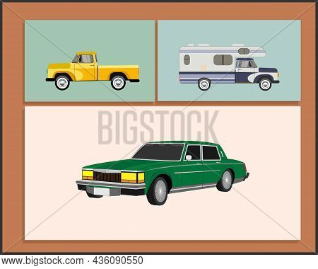 Painting With Different Old Cars. 20th Century American Culture
