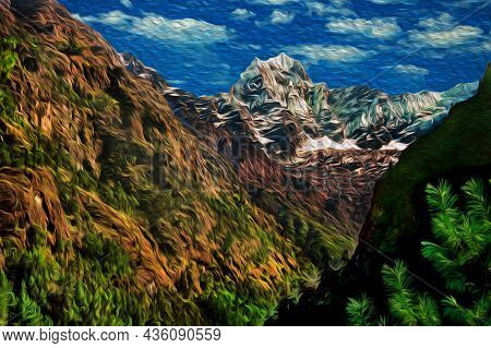 Colossal Snowy Mountains And Deep Valleys Amid The Himalaya Ridge. The World Largest And Highest Mou