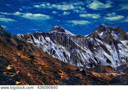 Snowy Mountains And Deep Valleys With Blue Sky At The Himalaya Ridge. The World Largest And Highest