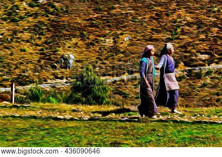 Girls From Sherpa Ethnicity In Typical Clothes At The Himalayas. The World Largest And Highest Mount