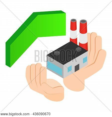 Industrial Insurance Icon Isometric Vector. Human Hand Holds Power Plant, Arrow. Industrial Developm