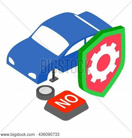 Vehicle Insurance Icon Isometric Vector. Car, Jack, Wheel, Shield And Button No. Registration Car Cr
