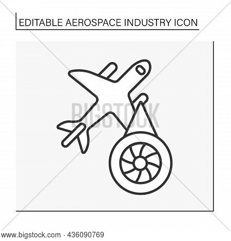 Aeroplane Engine Line Icon. Aircraft. Generator Of Mechanical Power. Aerospace Industry Concept. Iso
