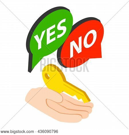 Ownership Insurance Icon Isometric Vector. Human Hand Holding Key, Message Bubble. Property Insuranc
