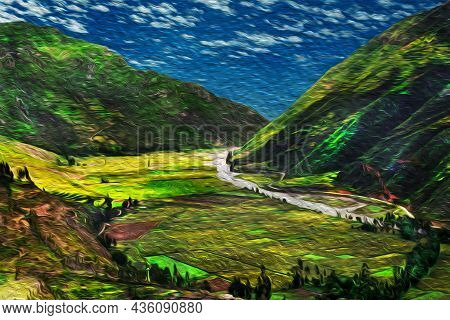 Urubamba River Running Through A Green Valley In The Peruvian Andes. The Highest Region With The Lar