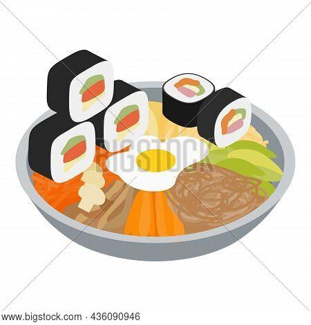 Korean Cuisine Icon Isometric Vector. Fresh Bibimbap And Kimbap Icon. Traditional Korean Dish, Authe