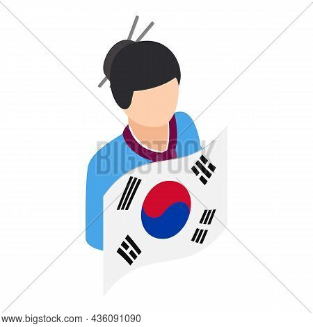 Korean Girl Icon Isometric Vector. Woman In National Costume With Country Flag. Korean Traditional C