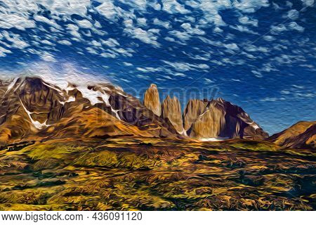 Mountain Landscape With Snowy Peaks In Torres Del Paine National Park. A Region Full Of Peaks And La