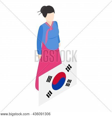 Korean Woman Icon Isometric Vector. Korean Traditional Clothing And Country Flag. Folklore, Culture