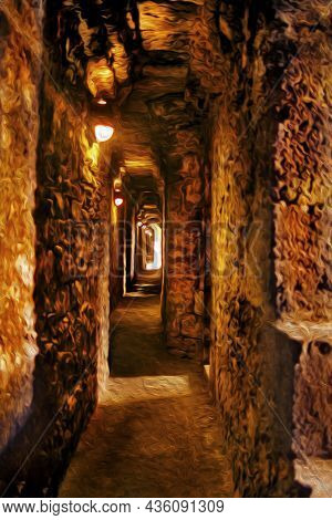 Narrow Passageway Made Of Stone Within The Wide Walls Of Beaumaris Castle. A Well Preserved Medieval