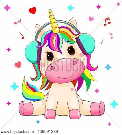 A Small Unicorn Sits With Headphones On Its Head, And Listens To Music Against The Background Of Hea
