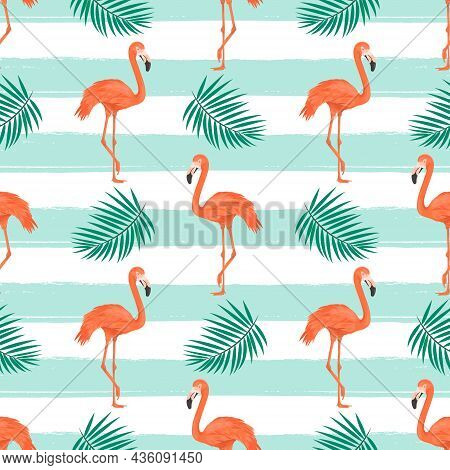 Seamless Pattern With Flamingo Bird And Tropical Leaves On Striped Background. Repeated Tropical Bac