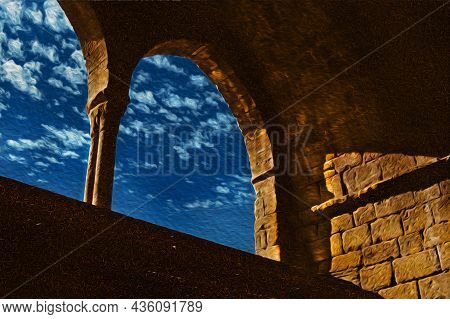 Arches And Columns In A Medieval Building On The Way Of St. James. A Pilgrimage Route Leading To San
