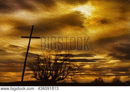 Crucifix And Tree With Warm Cloudy Sky On The Way Of St. James. A Pilgrimage Route Leading To Santia