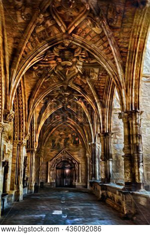 Passageway With Columns And Ceiling In Gothic Style On A Building Of Leon. An Ancient Town On Countr