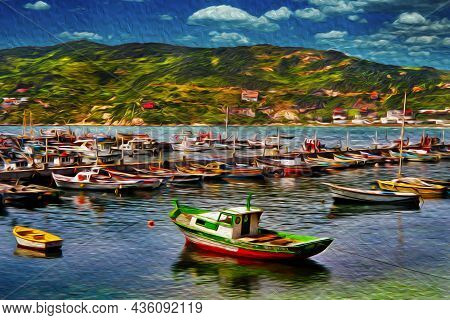 Small Fishing Boats Moored In A Port In Arraial Do Cabo. A Village In A Brazilian Region Of Stunning